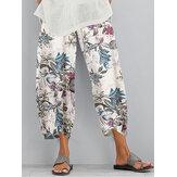 Retro Estampado floral Cintura elástica Bolsillo irregular en el dobladillo Casual Pantalones Para Mujer