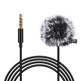 PULUZ PU3046 Lavalier Micrphone Portable 6M 3.5mm Jack Microphone Clip-on Wired Condenser Light Lapel Microphone for Recording Speech Live Video