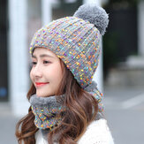 Thick Warm Wool Cap Bib Two-piece Set Beanie