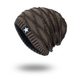 Knit Wool Hat Season Plus Warm Black Five-star Beanie Cap