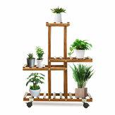 Premium Bambu Ahşap Bitki Kapalı Outdoor Bahçe Bitkier Saksı Raf Standı