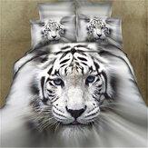 3 PCS ensembles de literie 3D taie animale taie d'oreiller de couverture de courtepointe d'impression pour la pleine taille