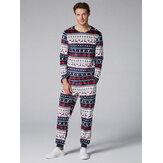 Tweedelige heren pyjama voor dames met hals