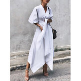 Women 3/4 Sleeve Asymmetrical Midi Shirt