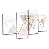 4 قطع مزيج هندسي فلامنغو الذهب صورة يطبع قماش جدار الفن ديكورات لوحات الحائط
