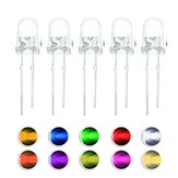 100PCS 5MM Round Red Green Blue Yellow White Warm White Orange Purple Pink Yellow-Green LED Diode Light Kit