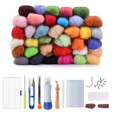 36 Color DIY Wool Felt Kit Needles Tool Set Handmade Needle Felting Mat Starter Fabric Sewing Kit w/ Felting Handle Clover