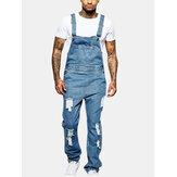 Erkek Moda Sling Romper Yırtık Kot Düz Renk Rahat Pantolon