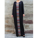 Plus Size Women Ethnic Style Print Bat Sleeve Conservative Maxi Dress with Pockets