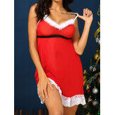 Lace-trim Christmas Style Pile Ruche Backless Nightgown