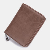 Men Genuine Leather Zipper Card Holder Wallet Coin Bag