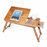 Portable Folding Lap Desk Bamboo Laptop Breakfast Tray Bed Table Stand Fan