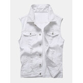 Casual Holes Pocket White Denim Vests