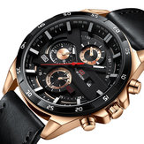 VA VA VOOM VA-216 Moda Homens Assista 3ATM Data impermeável Display Leather Strap Quartz Watch