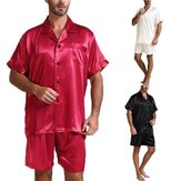 Men Silk Satin Short Sleeve Pajama Set Sleepwear Nightgown Sleep Pyjama Homewear