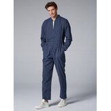 Mens Cotton Stripe Stand Collar Onesies Pockets Jumpsuit