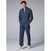 Quần cotton nam sọc đứng cổ áo Onesies túi Jumpsuit
