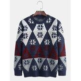 男性の新しいファッションラウンドネックRhomboidsプルオーバーセーター