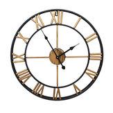 40cm / 50cm Duży metalowy szkielet Zegar ścienny Antyczne złoto Wystrój domu Okrągły salon