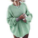 Solid Color Long Sleeve Women Causal Sweaters
