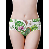White Plant Pattern Printing Seamless Breathable Briefs