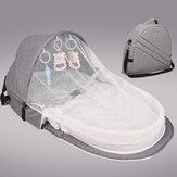 Opvouwbare multifunctionele katoenen babybed draagbare wieg met net en speelgoed voor baby's