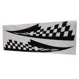 2Pcs Car Decal Vinyl Graphics Stickers Hood Decals Checkered Flags Stripe Black  17x77cm #CG169