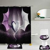 Animated Two Dragão Imprimir Cortina de Chuveiro Impermeável Banheiro Tapete Higiênico Set
