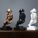Kunstharz im nordischen Stil Still Dekorationsstatuen Gold Silence Sculptures Home Decorations