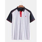 Herren 100% Baumwolle Streifen Patchwork Turn Down Kragen Shirts