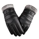 Luvas de esqui de couro térmico homem mulher inverno quente tela sensível ao toque luva antiderrapante