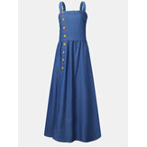 Solid Color Straps Button Sleeveless Denim Maxi Dress