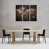 3 Pcs Moderne Abstrait Wall Mount Art Peintures Carte Du Monde Toile Photo Décor À La Maison