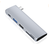 HOWEI HW-TC40 5 in 1 Hub USB 5Gbps USB3.0 USB2.0 SD Card Reader TF USB-C PD Pengisian Konektor Ekstensi Extender