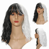 14'' Women Cosplay Black White Synthetic Curly Hair Wigs Shoulder Length