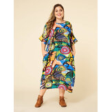 Bohmian Print Contrast Color Bat Sleeve Pocket Maxi Dress