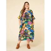 Sukienka maxi z kontrastowymi kolorami i rękawami w kolorze nietoperza
