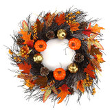 60cm Christmas Maple Leaves Ring Pumpkin Vine Wreath Garland Door Hanging Christmas Wreath Decorations