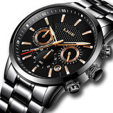 LIGE 9866 Chronograph Full Steel Band Men Wrist Watch Lumino
