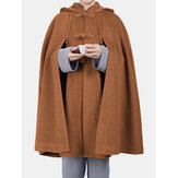 Mens Loose Casual Hooded Cape Cloak Top Coats