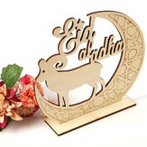 Islam Eid Al-Fitr Ramadan Decoration Moon Sheep Crafts Mubarak Hollow Ornaments Wooden Golden Anniversary Christmas New year Valentine's Day Birthday Gift