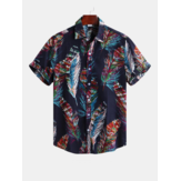 Men Colorful Feather Printign Summer Printed Hawaiian Shirts