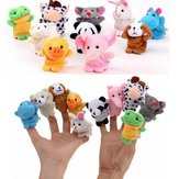 10PCS Cute Cartoon Biological Animal Finger Puppet Plush Toys Child Baby Favor Dolls Puppets de dedo