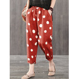 Women Elastic Waist Polka Dot Side Pockets Harlan Pants