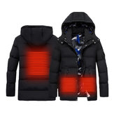 Men Women Electric Intelligent Heating USB Hooded Heated Warm Work Jacket Motorcycle Skiing Riding Coats