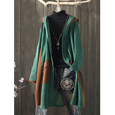 Corduroy Patchwork Hooded Plus Size Women Long Coats