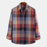 Mens Retro Plaid Printed Cotton Fashion Casual Long Sleeve