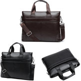 Men Leather Durable Briefcase Bolsa À prova d 'água Business Messenger Messenger Satchel Laptop Handbag