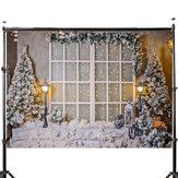 3x5FT 5x7FT Vinyl Christmas Tree Snow Window Light Photography Backdrop Background Studio Prop