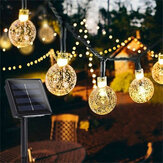 12M 8 moduser 100LED Solar String Light Crystal Ball Fairy Lamp Wedding Holiday Home Party Christmas Tree Decoraions Lights